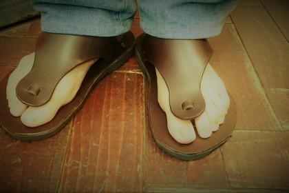 Mr. Sato made sandals