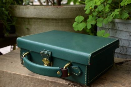 Green leather trunk